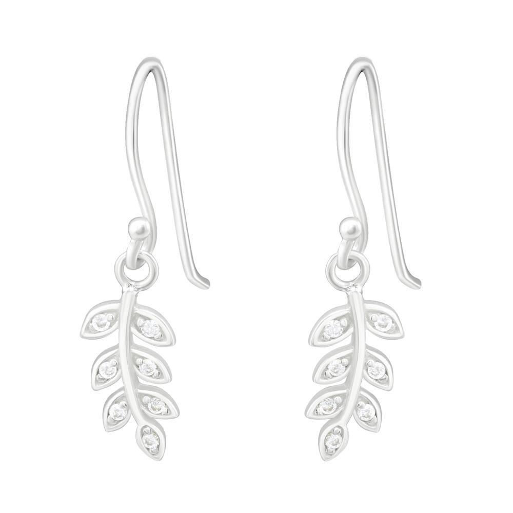 Ohrhänger Blätter mit Kristall aus .925 Silber Damen