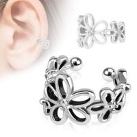 Flower silver ear clip made of brass for women