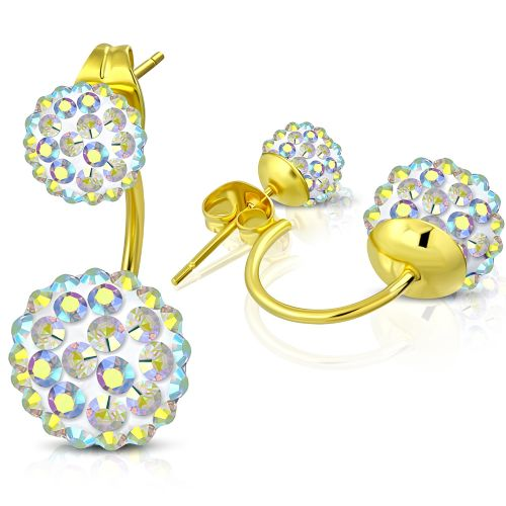 Ohrhänger bunte Shamballa Kugel Gold aus Edelstahl Damen