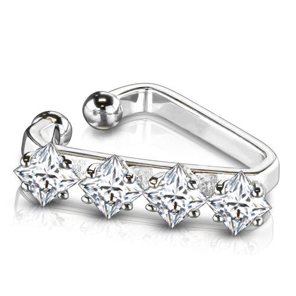 Ohrklemme dreieckig mit 4 Kristallen Silber aus Edelstahl Damen