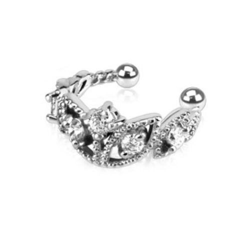 Ear clip crystal crown silver made of brass for women