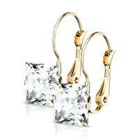 Ohrhänger Kristall eckig gold aus Edelstahl Damen