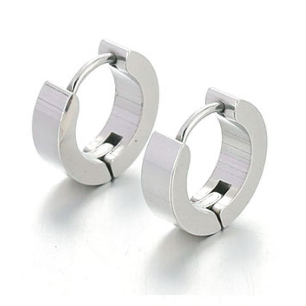 Creolen klassisch gravierbar Silber aus Edelstahl Unisex