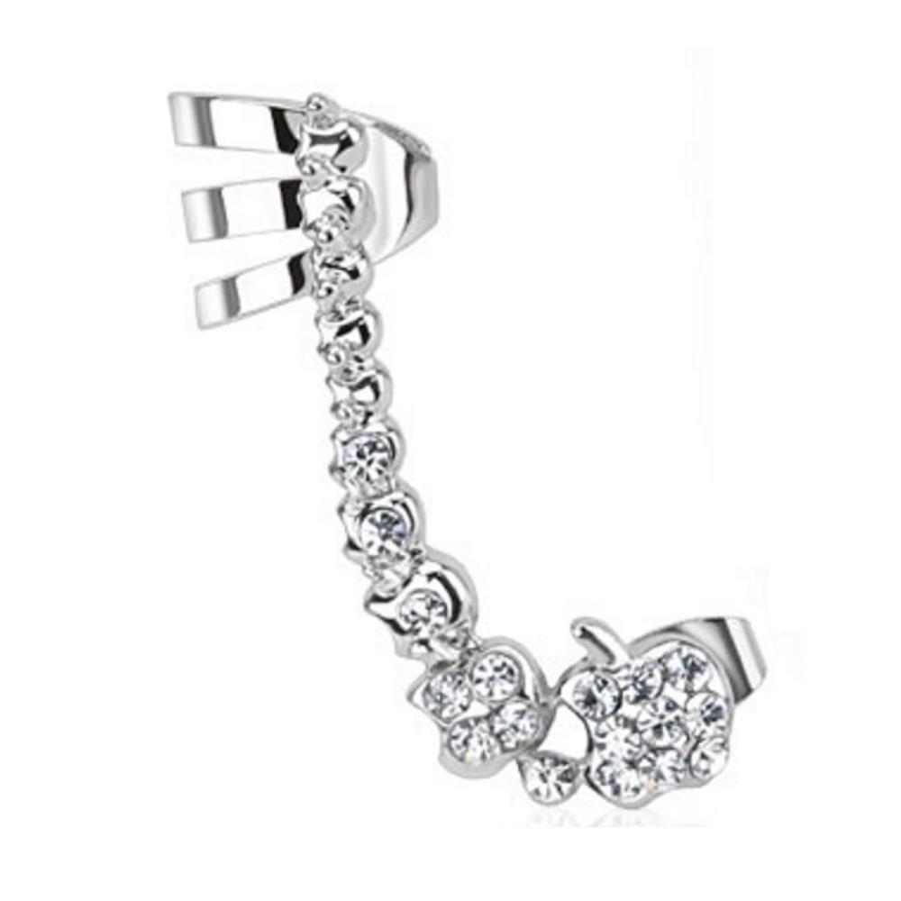 Ohrklemme Kristallkette Silber aus Edelstahl Damen