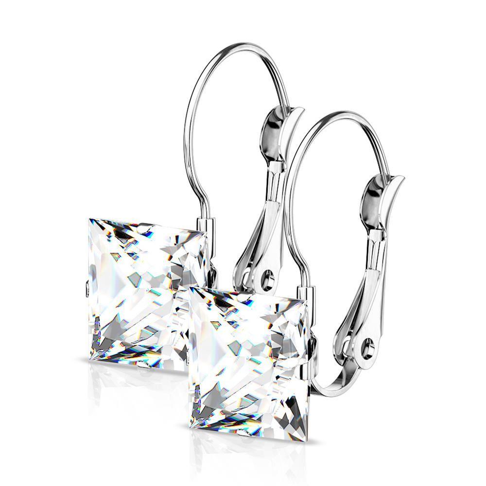Ohrhänger Kristall eckig Silber aus Edelstahl Damen
