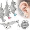 Ear clip angel wing silver made of stainless steel ladies