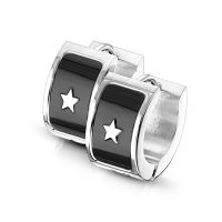 Hoops black stars silver made of stainless steel unisex
