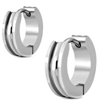 Hoop earrings two rings made of stainless steel unisex
