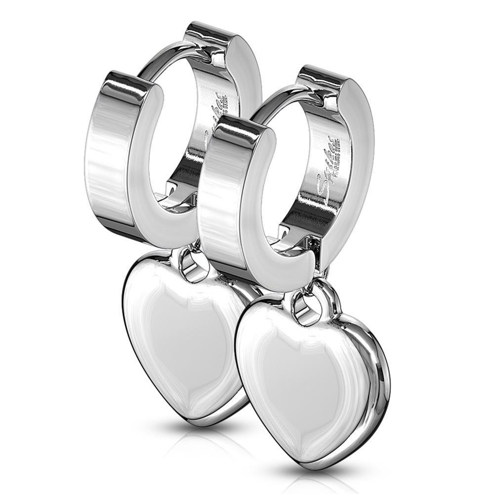 Creolen mit Herzanhänger Silber aus Edelstahl Damen