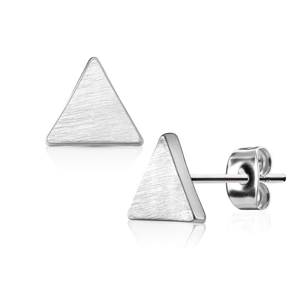 Ohrstecker Dreieck gebürstet Silber aus Edelstahl Damen