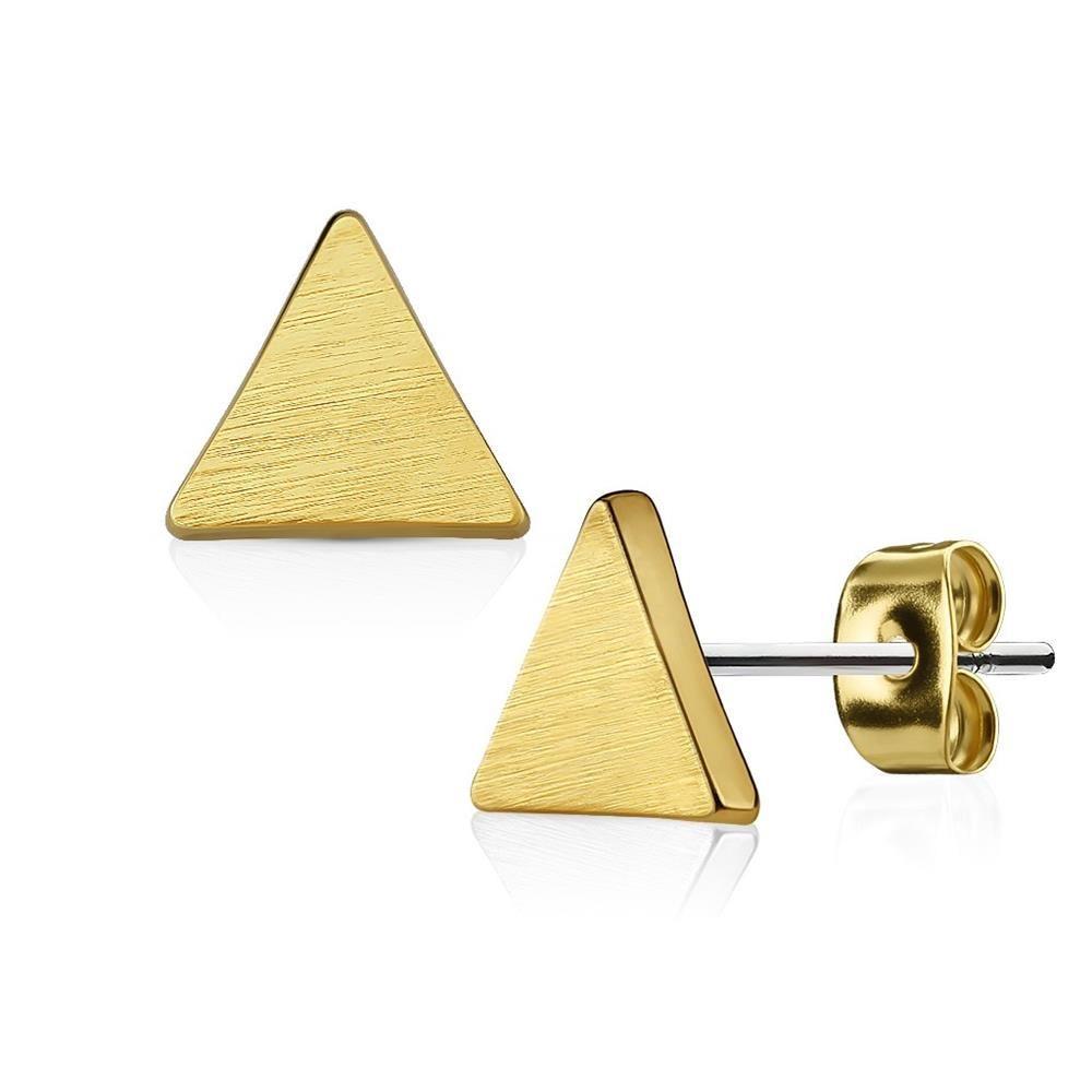 Ohrstecker Dreieck gebürstet Gold aus Edelstahl Damen