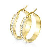 Creolen Glitzer mit Kristall Gold aus Edelstahl Damen
