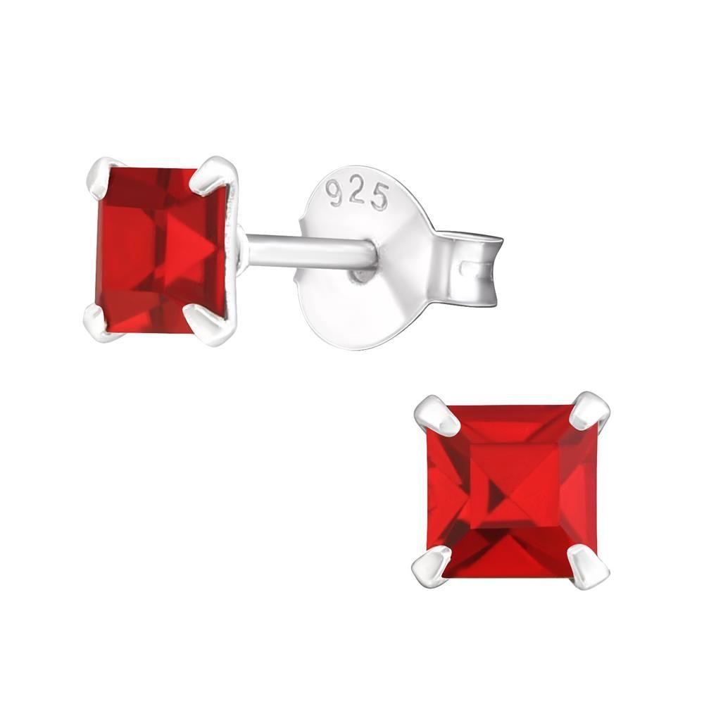 Ohrstecker eckig mit rotem Kristall aus .925 Silber Damen