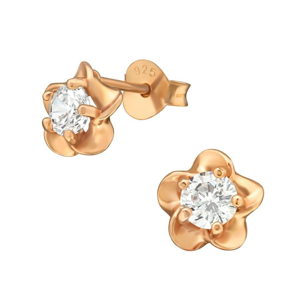 Ohrstecker Blüte mit Kristall rosegold aus .925 Silber Damen