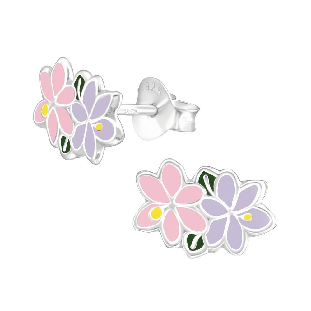 Ohrstecker Blumen pink aus .925 Silber Kinder