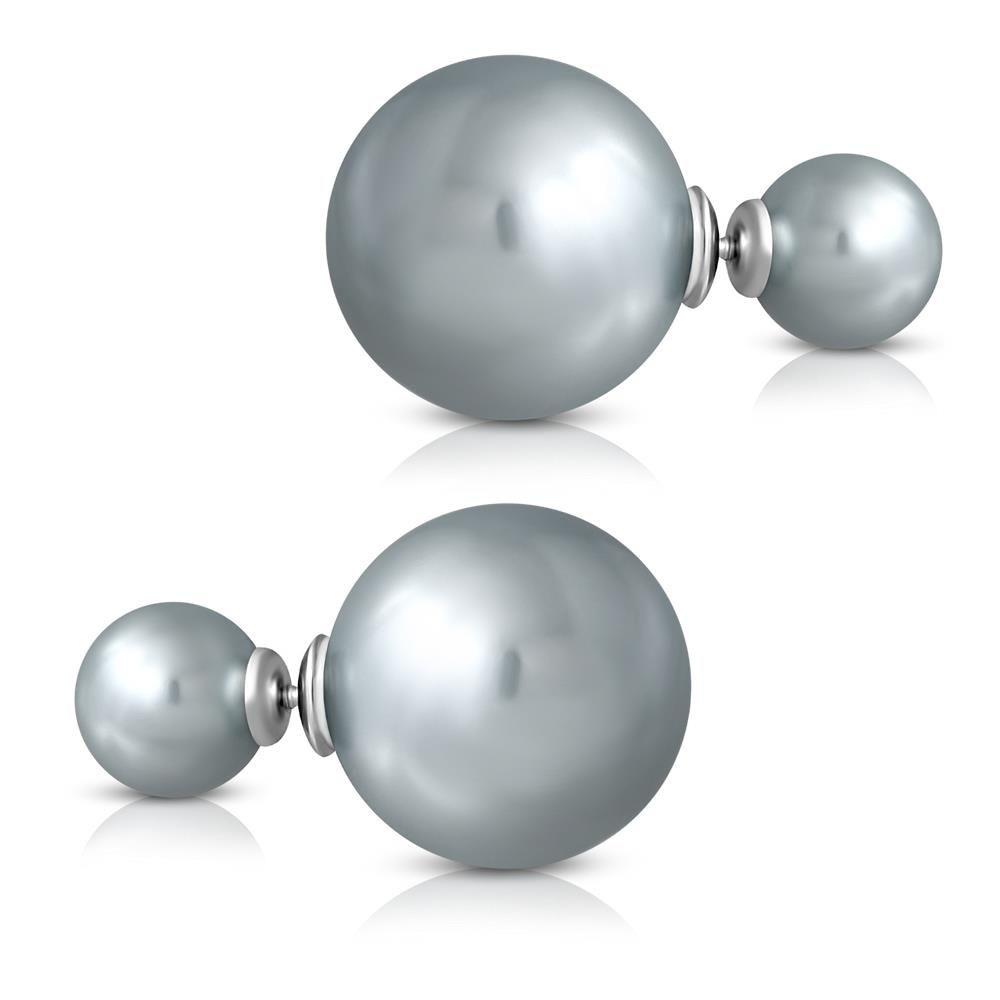 Ohrstecker Doppelperlen Grau aus Edelstahl Damen