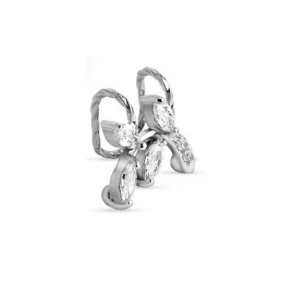 Ohrklemme Kristall-Zweig silber aus Messing für Damen