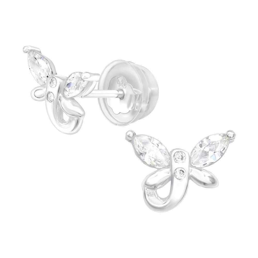 Ohrstecker Libelle mit Kristall aus .925 Silber Damen
