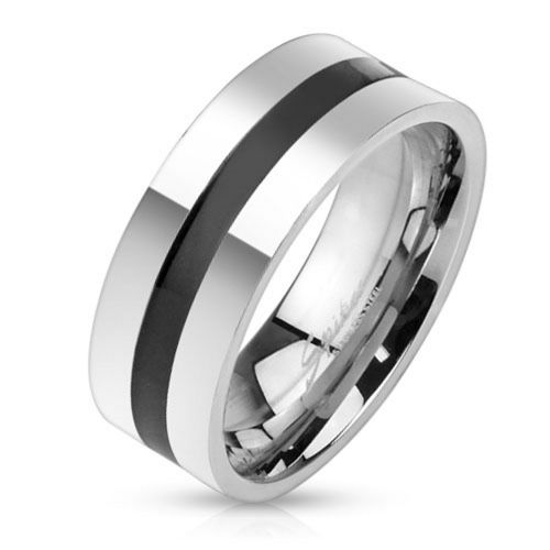 Ring black central ring silver made of stainless steel unisex