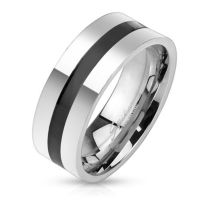 Ring black central ring silver made of stainless steel...