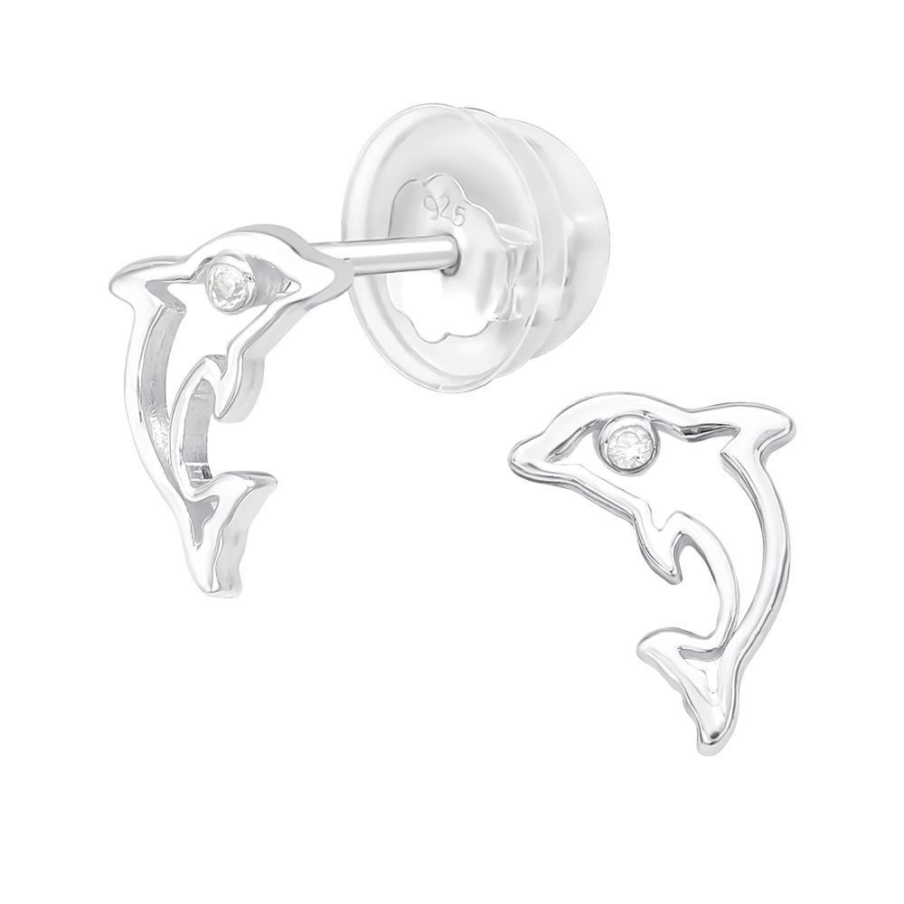 Ohrstecker Delfin mit Zirkonia aus .925 Silber Damen