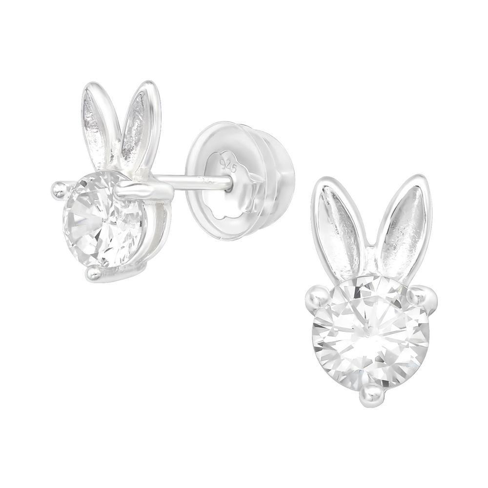 Ohrstecker Bunny mit rundem Kristall aus .925 Sterling Silber Damen