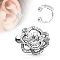 Rose silver brass ear clip for women