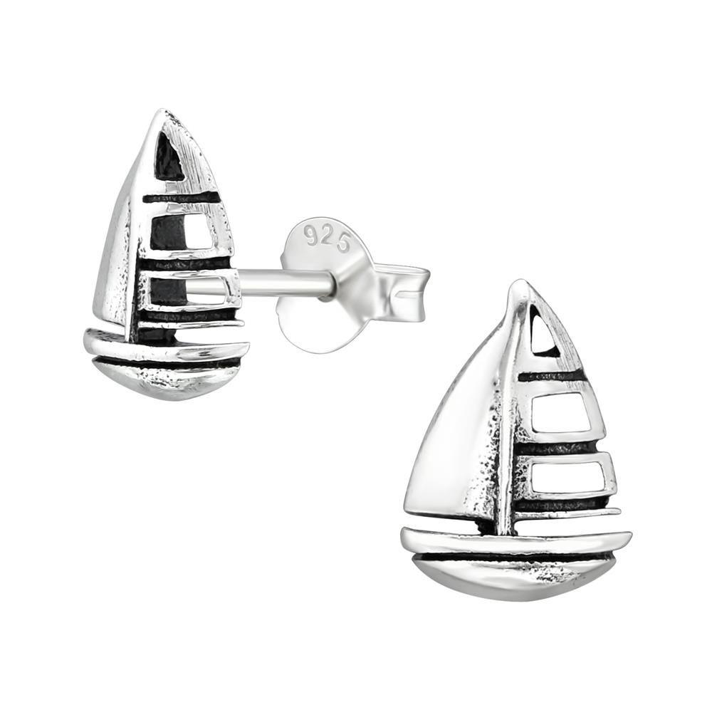 Ohrstecker Segelboot oxidiert aus massivem .925 Sterling Silber Damen