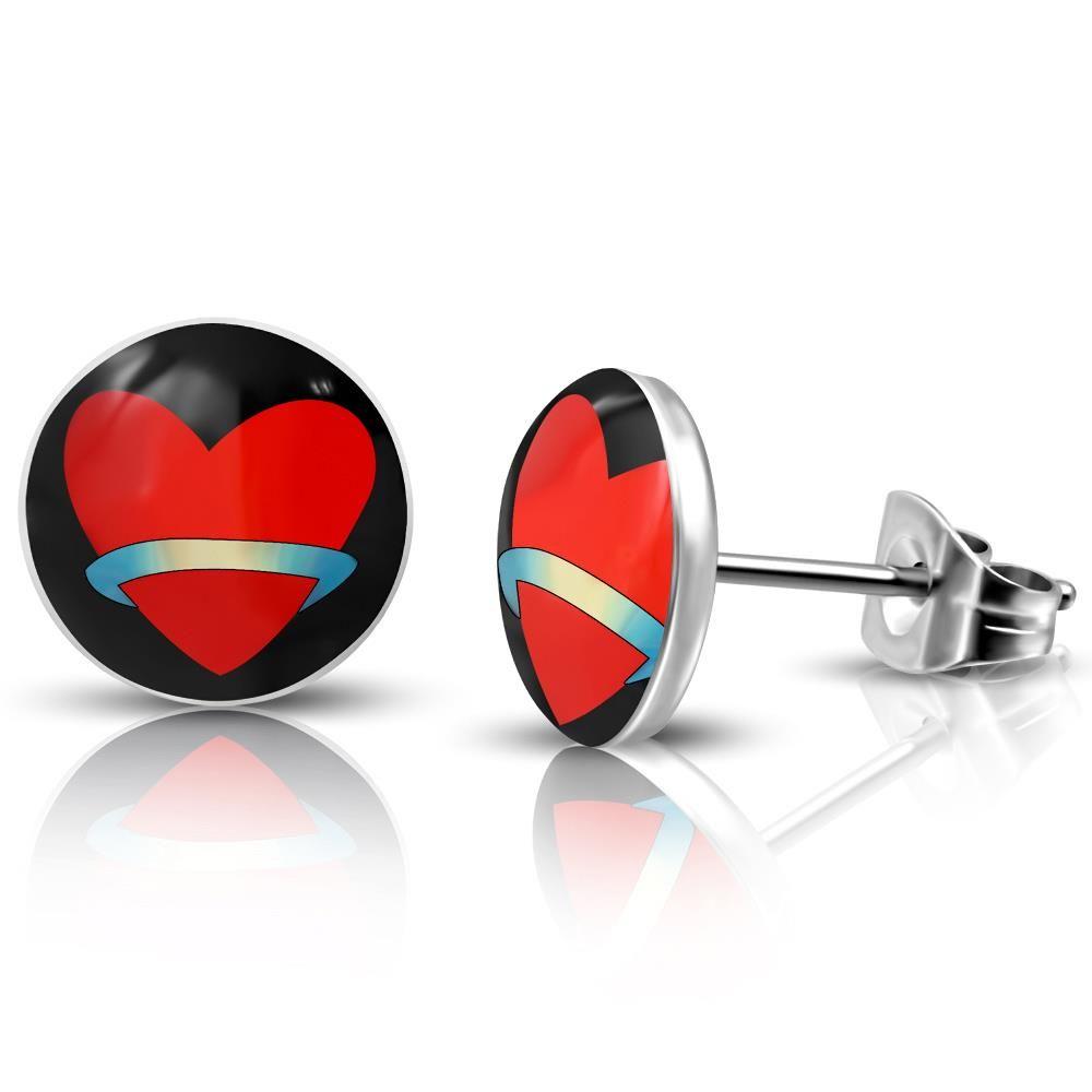 Ohrstecker Rotes Herz Silber aus Edelstahl Unisex