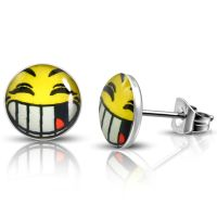Studs smiley yellow made of stainless steel unisex