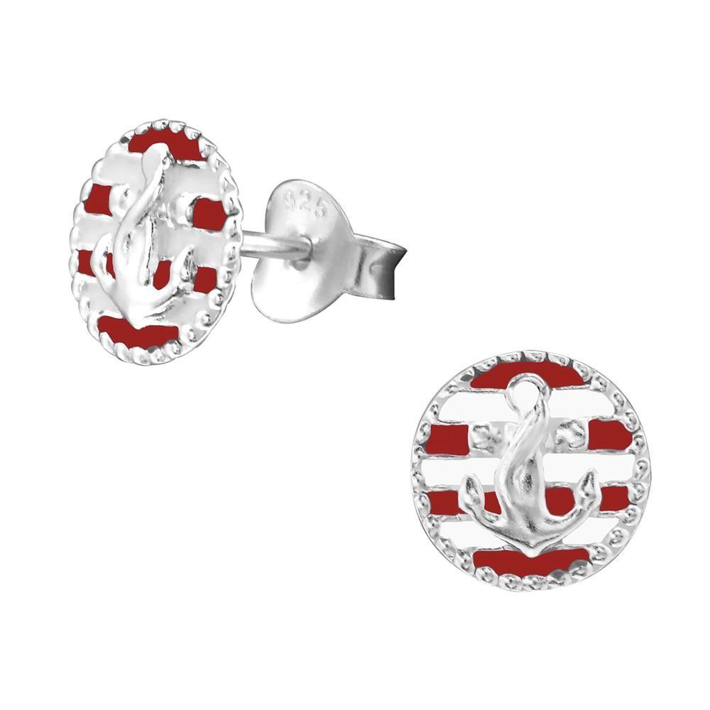 Ohrstecker Anker rot-weiß aus .925 Silber Damen