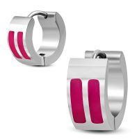 Hoops with pink stripes silver made of stainless steel...