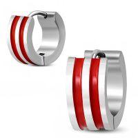 Creolen mit roten Streifen Silber aus Edelstahl Unisex