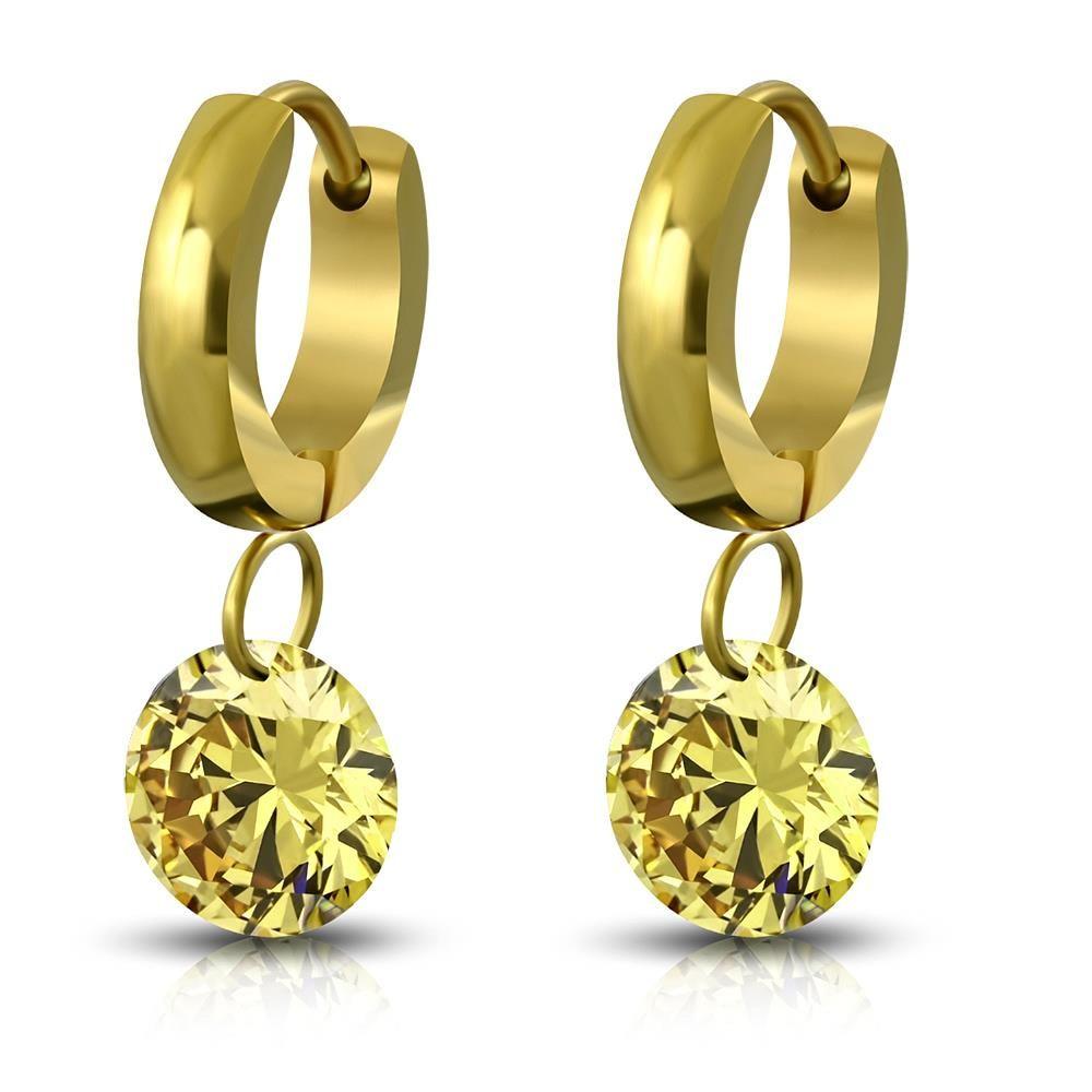 Creolen mit Kristallanhänger Gold aus Edelstahl Damen