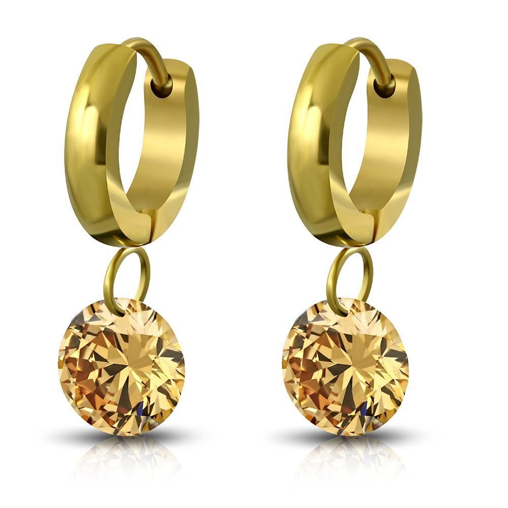 Creolen mit Champagne Kristallanhänger Gold aus Edelstahl Damen