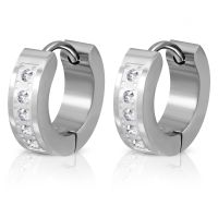 Hoop earrings with zirconia 4mm silver made of stainless...