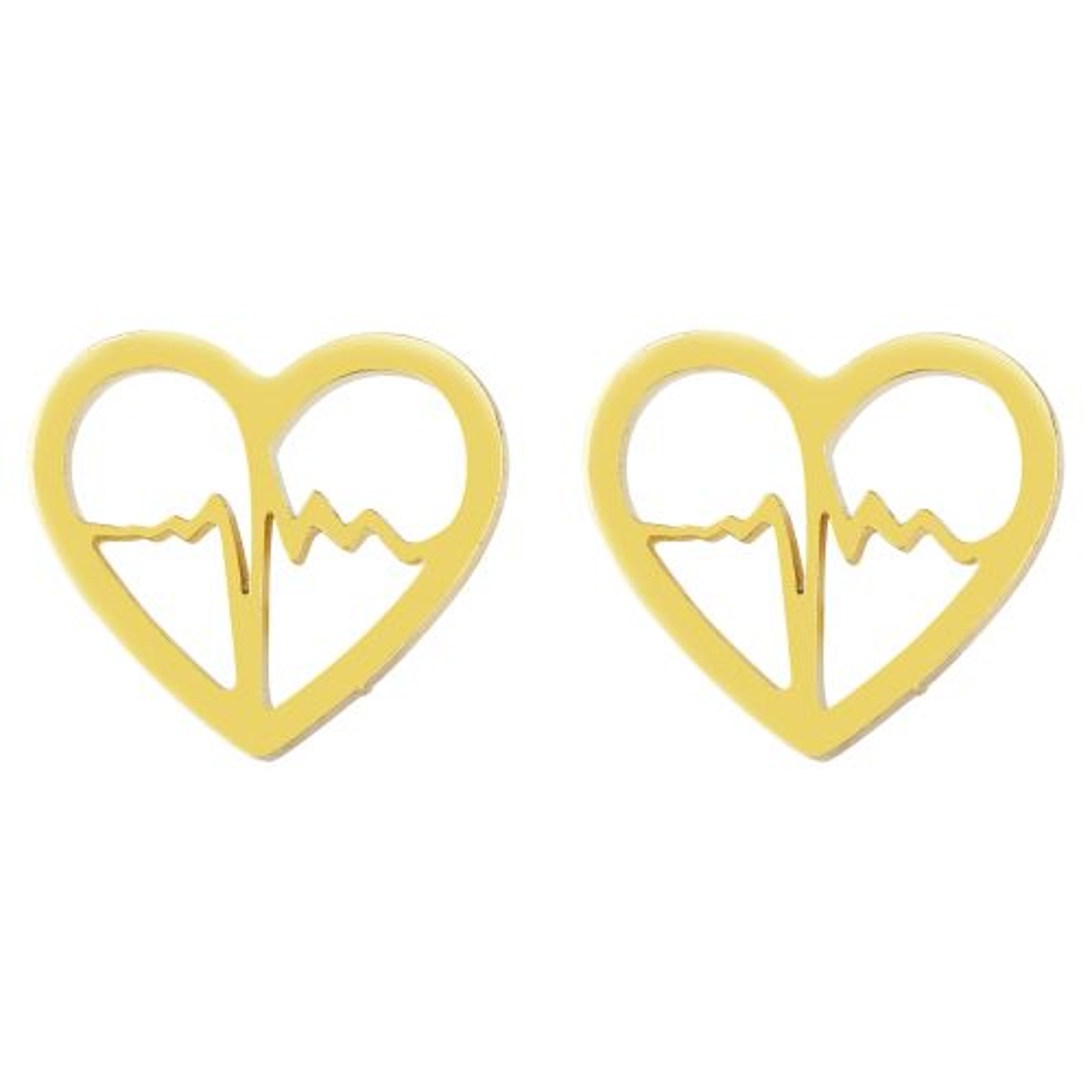 Ohrstecker Heartbeat gold aus Edelstahl Damen
