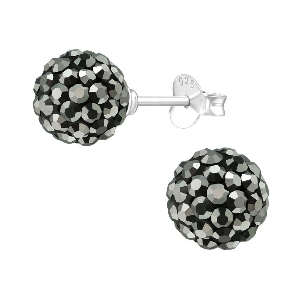 Ohrstecker Discokugel 8mm schwarz mit silbernen Kristallen aus .925 Silber Damen