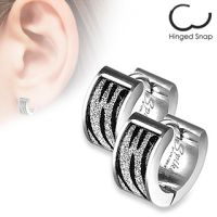 Silver hoop zebra stripes made of stainless steel for women