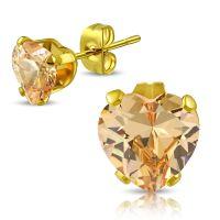 Ohrstecker Kristallherz Beige Gold aus Edelstahl Unisex