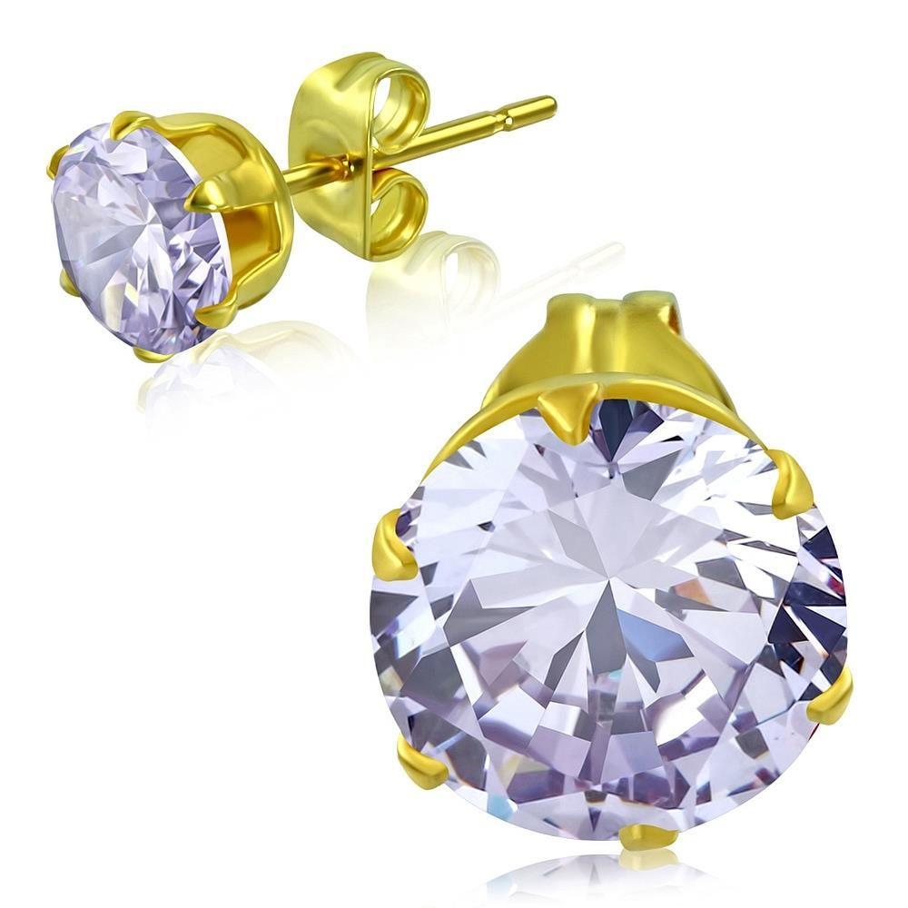 Ohrstecker klarer Kristall Gold aus Edelstahl Unisex