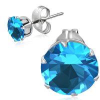Ohrstecker Aquamarine Kristall Blau aus Edelstahl Unisex