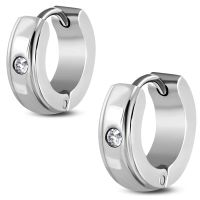 Hoop earrings with clear zirconia silver made of...