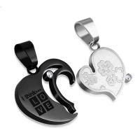 Heart pendant two-piece black made of stainless steel unisex