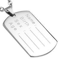 Pendant DogTag silver made of stainless steel unisex