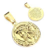 Anhänger Jesus mit Gebet gold aus Edelstahl Unisex