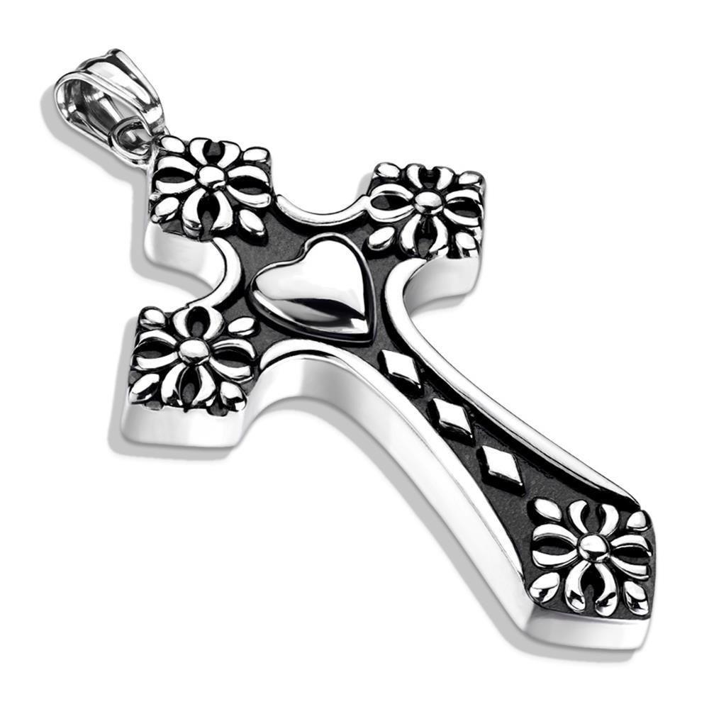 Anhänger Keltenkreuz mit Herz Silber aus Edelstahl Unisex