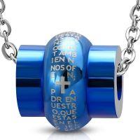 Anhänger Gebetstrommel Blau aus Edelstahl Unisex