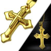 Anhänger 3D Kreuz Gold aus Edelstahl Unisex