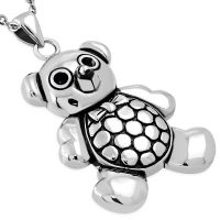 Pendant teddy silver made of stainless steel unisex